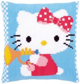 Kruissteekkussen Bedrukt Hello Kitty met trompet