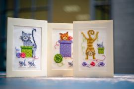 'Speelse Katten' Vervaco Wenskaart set van 3