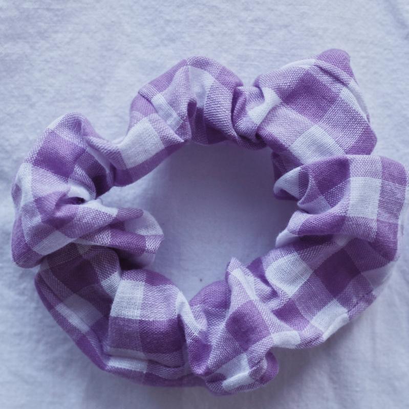 Scrunchie lila boerenbont
