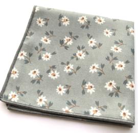 Doekje blauw/grijs bloem 25 x 25 cm