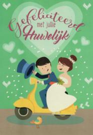 """Wenskaart """"gefeliciteerd met jullie huwelijk"""""""
