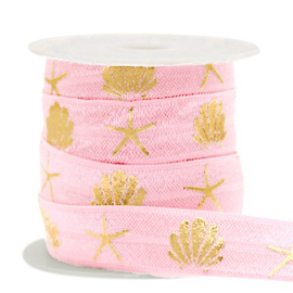 Koord elastisch zeeschelpen roze