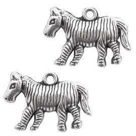 Bedeltje zebra zilver