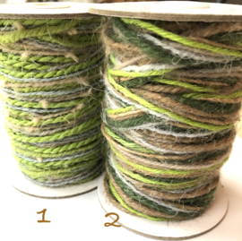 Koord twisted flaxcord groen/naturel