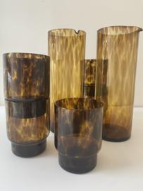 Karaf  en 4 glazen amber