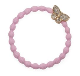 armband/haarelastiekje vlinder roze