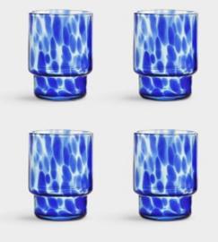4  glazen blauw