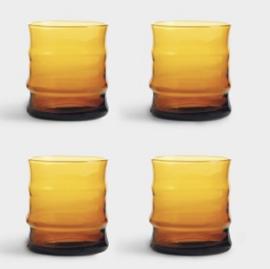 4 bamboo glazen