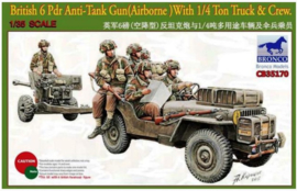 Bronco | cb35170 | British 6pdr Anti-Tank gun (ariborne) with 1/4 Ton Truck & Crew | 1:35