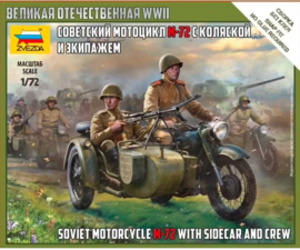 Zvezda | 6277 | Soviet Motorcycle M-72 with Sidecar and Crew | 1:72