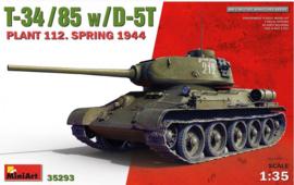 MiniArt | 35293 | T-34-85 w/D-5T. Plant 112. Spring 1944 | 1:35