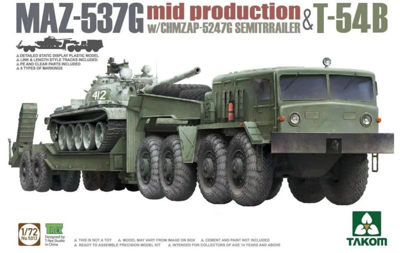 Takom | 5013 | MAZ-537 Mid w/ CHMZAP-5247G trailer & T-54B | 1:72