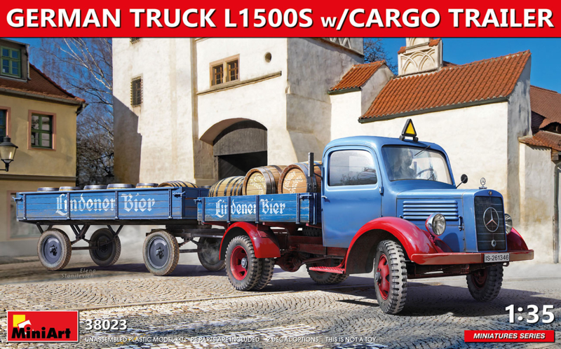 MiniArt | 38023 | Germa Truck L1500S with Cargo Trailer and Cargo | 1:35