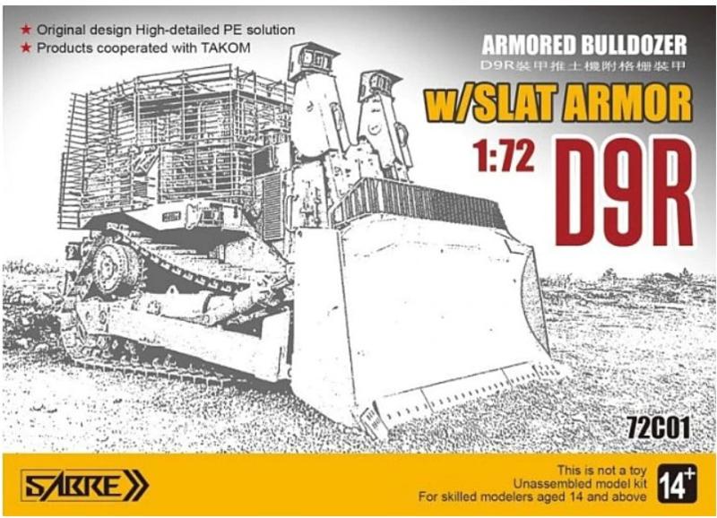 Sabre   72C01   Armored Bulldozer D9R w/Slat Armor   1:72