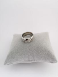 RVS Ring met steentjes dubbel