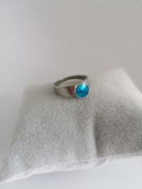 RVS ring met blauwe steen