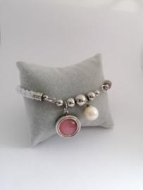 Damesarmband met roze steen en parel