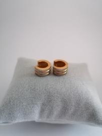 RVS oorbellen goud met zilveren strepen