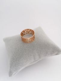 RVS Ring bloempatroon roségoud