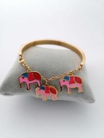 RVS Armband met olifantjes goud