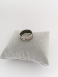 RVS Ring met rand en glim