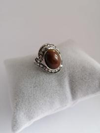 RVS Ring met bruine steen