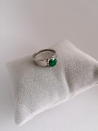 RVS ring met groene steen
