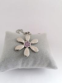 RVS Ketting bloem met paarse steentjes