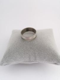 RVS Ring met glim en 3 randen