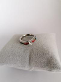 RVS Ring met steentje en kleurtjes