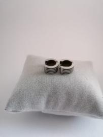 RVS oorbellen met zwarte strepen