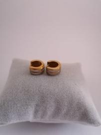 RVS oorbellen goud met zilver