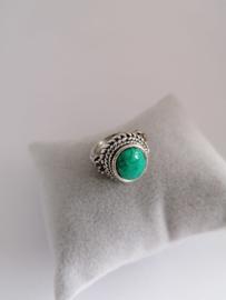RVS Ring met steen groen/blauw