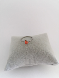 RVS Ring met oranje steen