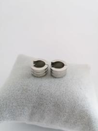 RVS oorbellen met groeven