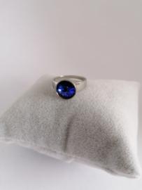 RVS ring met steen donkerblauw