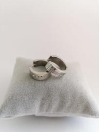 RVS oorbellen met strasssteentjes
