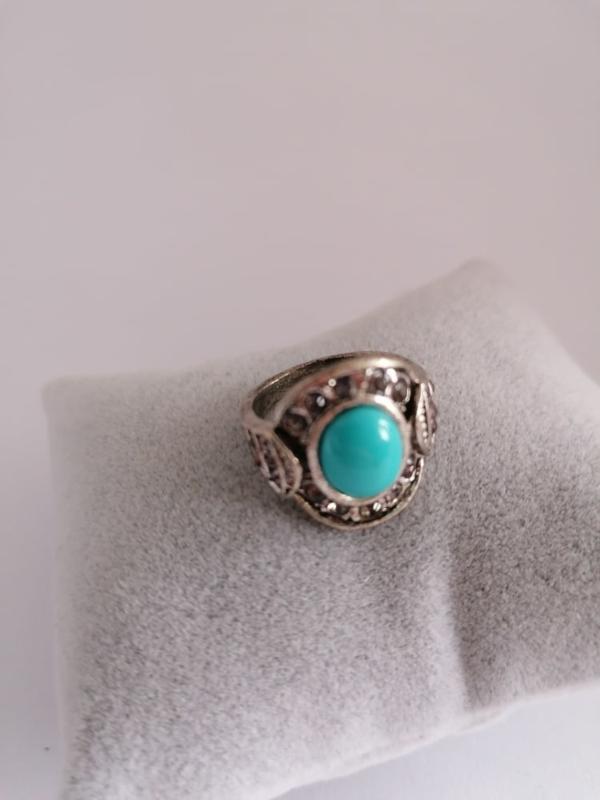 RVS ring met steen aqua