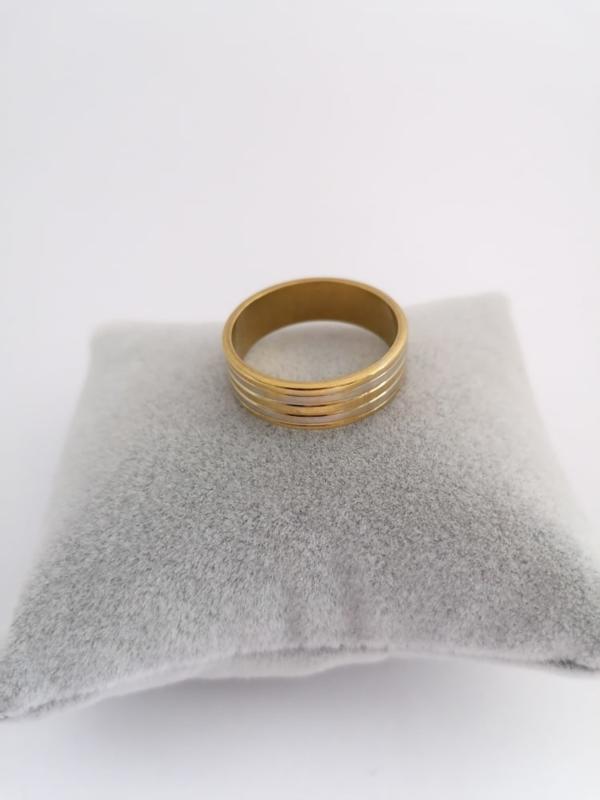 RVS Ring goud met zilveren randen