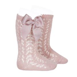 Socks Open Bow - Pale Pink