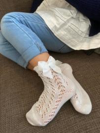 Open Socks w/Bow - White