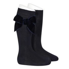 Velvet Socks Knee High - Navy