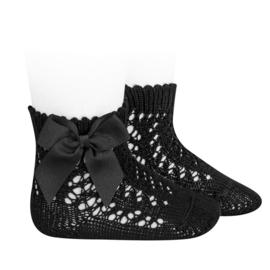 Open Socks w/Bow - Black