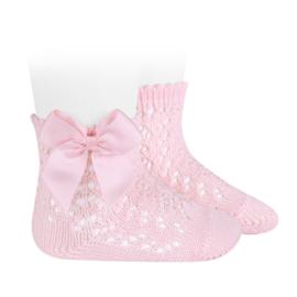 Open Socks w/Bow - Pink