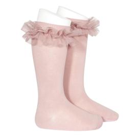 Ruffle Socks Knee High - Pale Pink