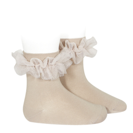 Socks Ruffle Beige