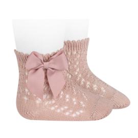 Open Socks w/Bow - Rosa