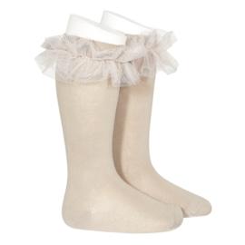 Ruffle Socks Knee High - Stone