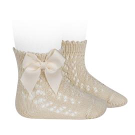 Open Socks w/Bow - Lino