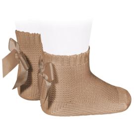 Socks Bow Back - Camel